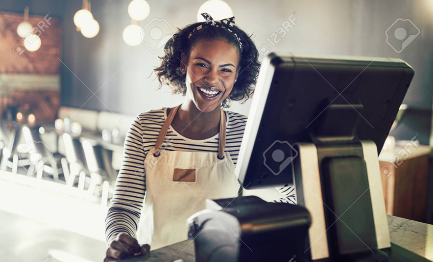 Business Woman at Checkout